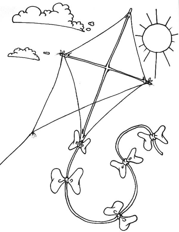 600x776 flying kite coloring page - Coloring Page Kite