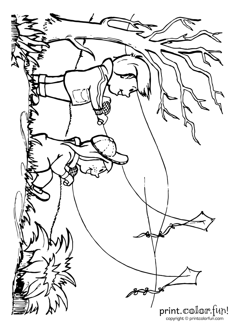 800x1100 Coloring Pages Kite Flying Printable