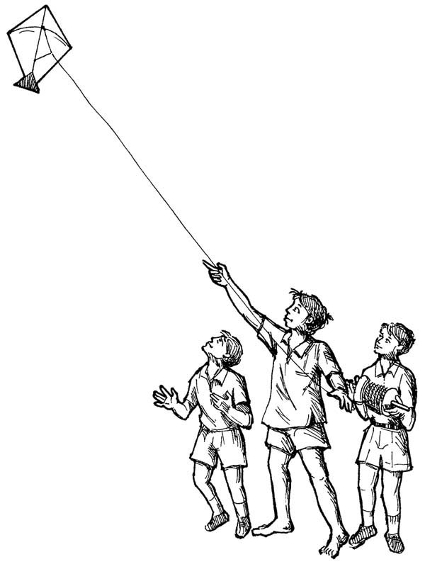 600x803 Flying Kite Coloring Page