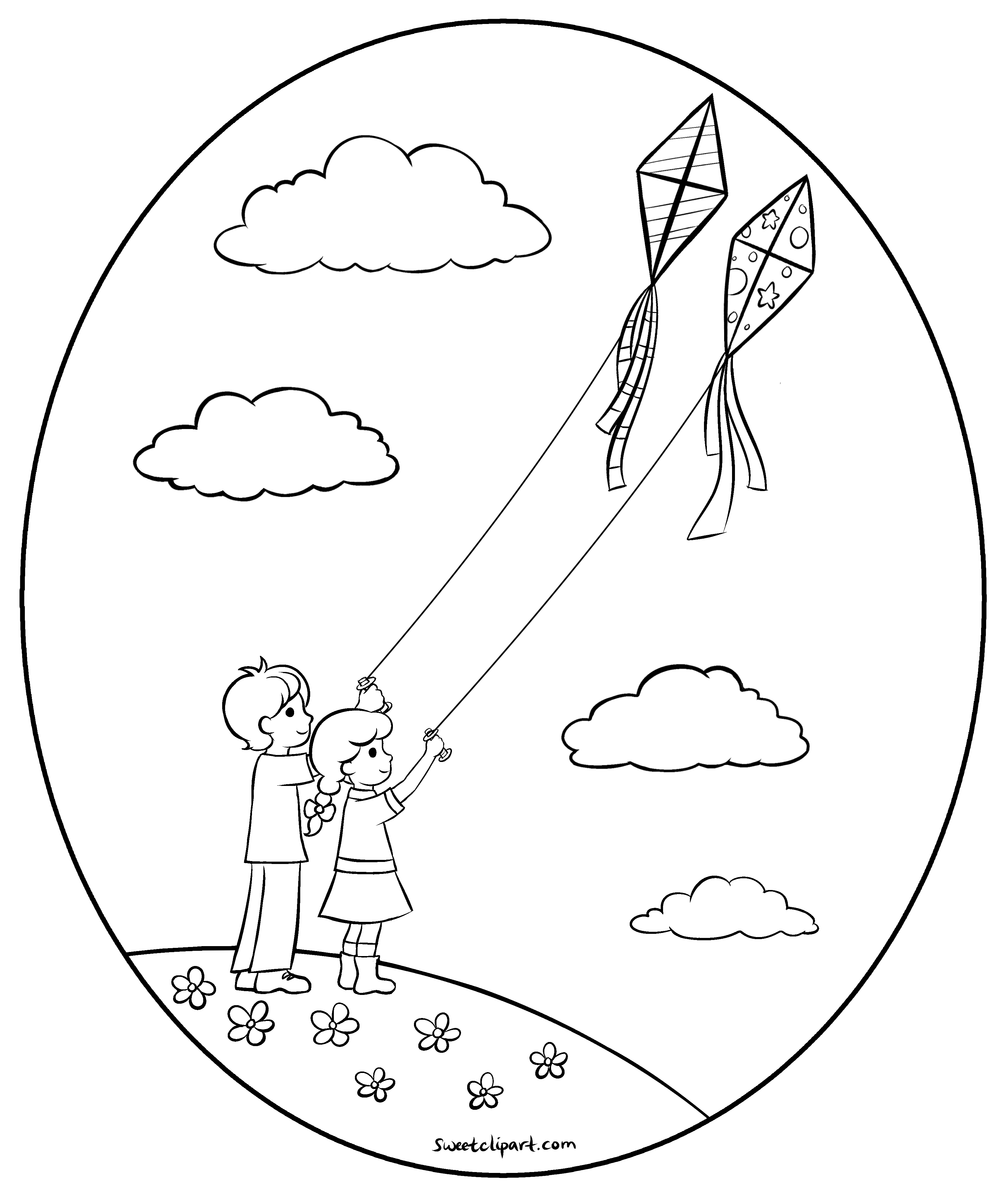 3448x4068 Flying Kites Coloring Page