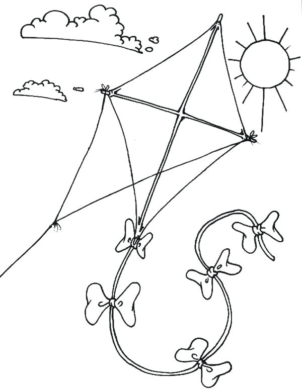 600x776 Kite Drawing For Coloring Kite Coloring Page Packed With Coloring