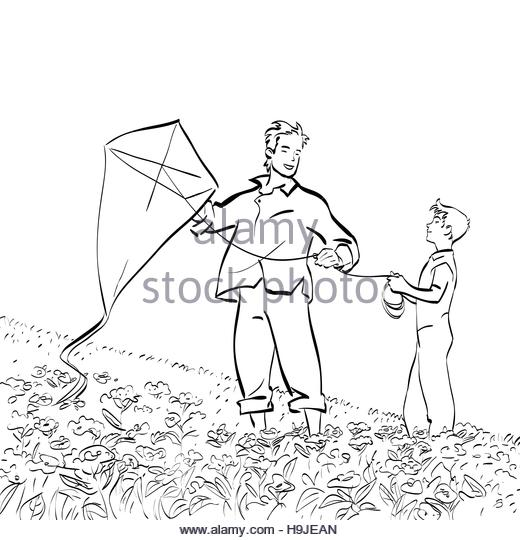 520x540 Kite Flying Stock Vector Images