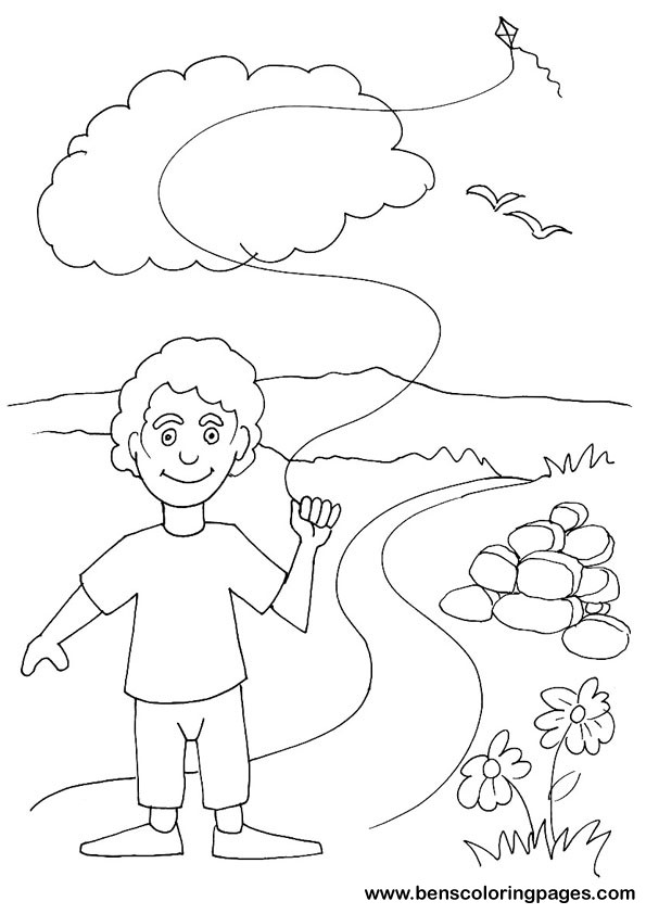 595x842 Boy Flying Kite Coloring