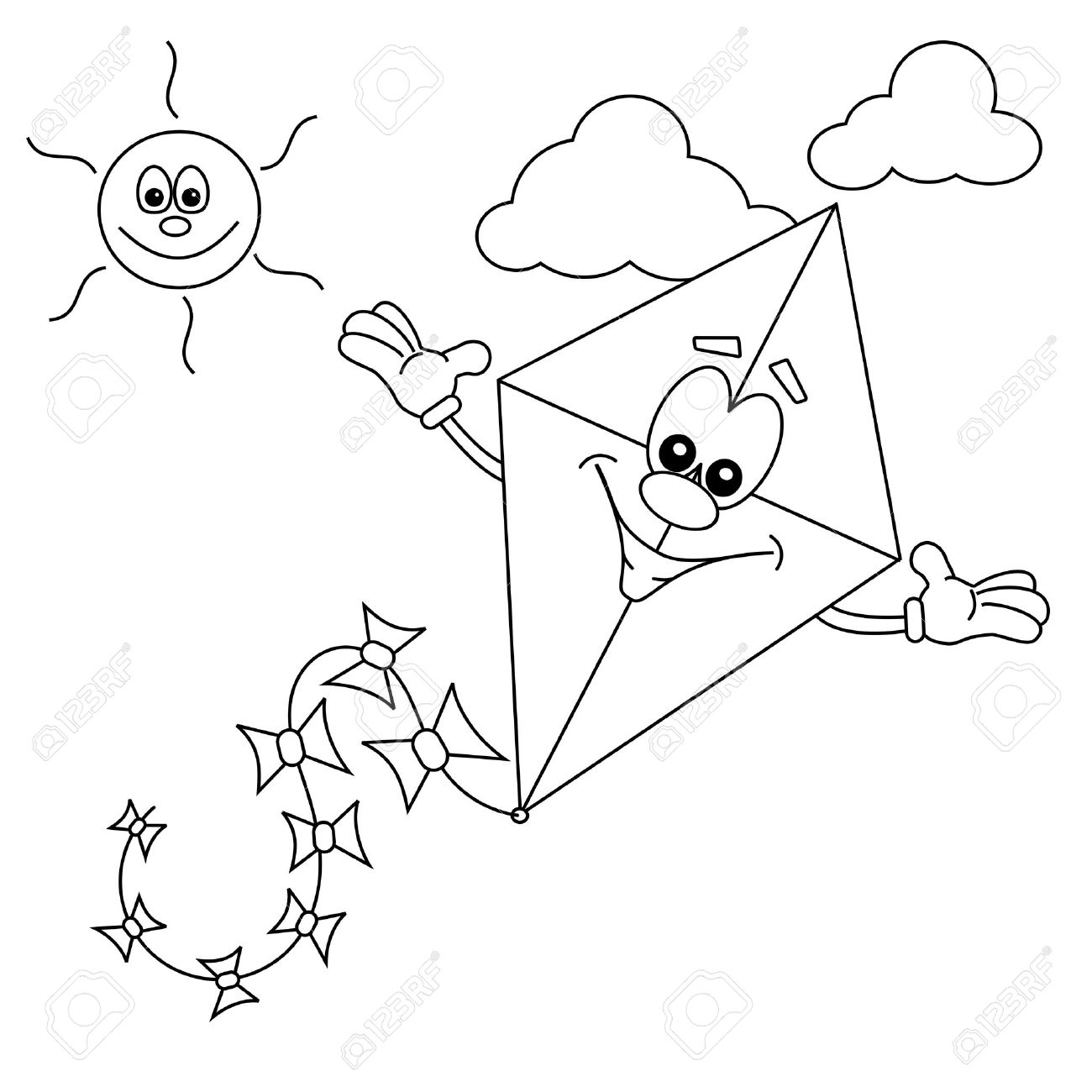 1300x1300 Cartoon Kite Outline For Colouring In Book Royalty Free Cliparts