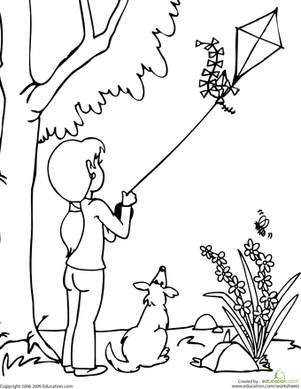301x389 Color The Kite Flying Scene Kites, Worksheets And Scene