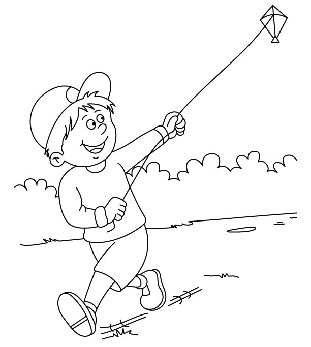 612x683 Pictures Of Children Flying Kites Flying Kite Coloring Page1