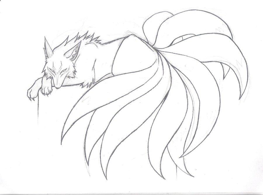 900x668 Japanese Nine Tailed Fox Legend Nine Tailed Beauty Sketch By