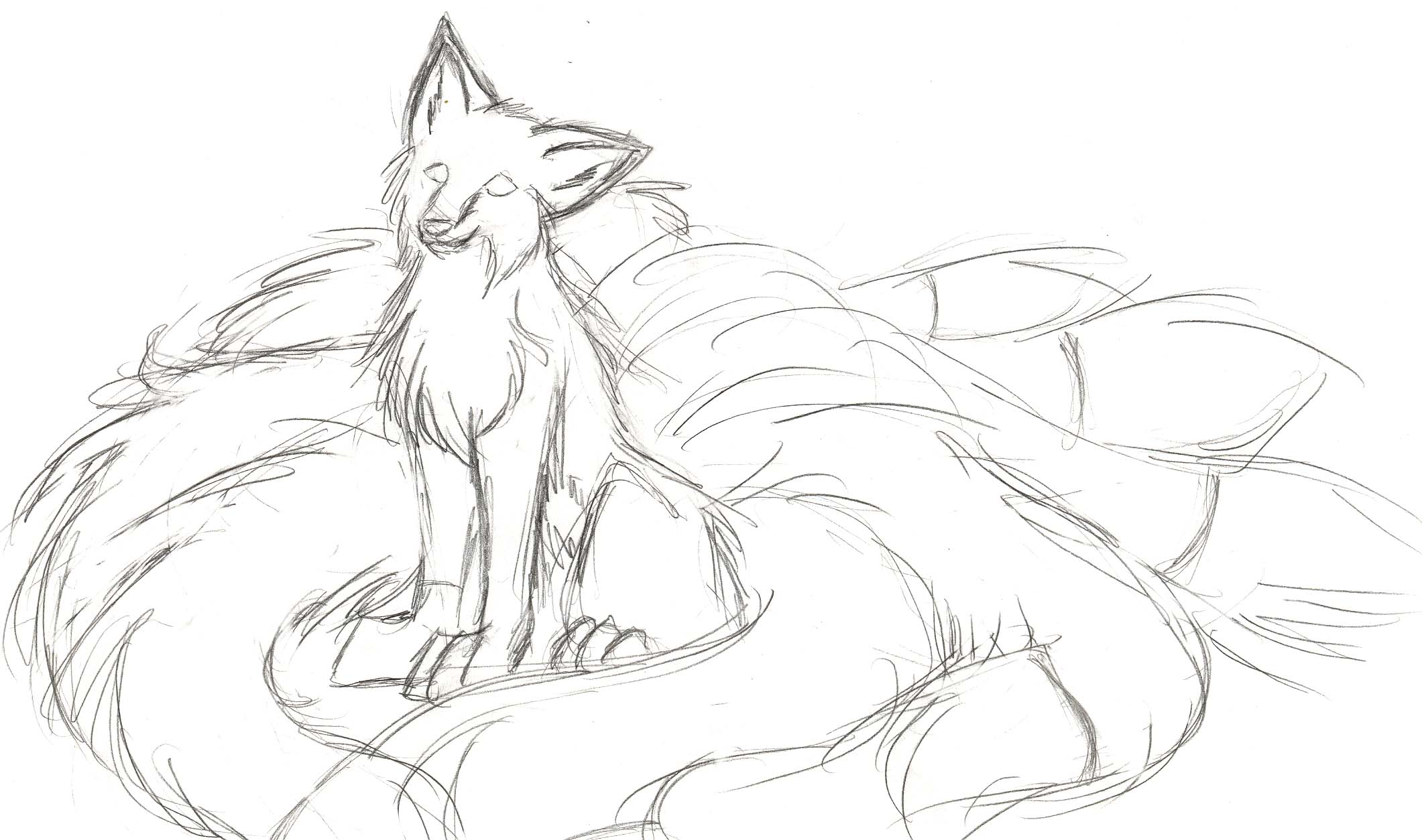 2121x1254 Unfinished Kitsune Sketch Old By Thenimirra