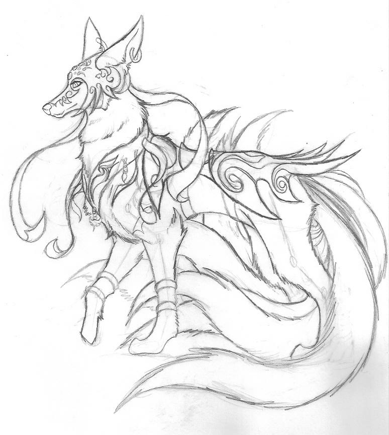774x864 Celestial Kitsune, Faye Wip By Fayelenefyre