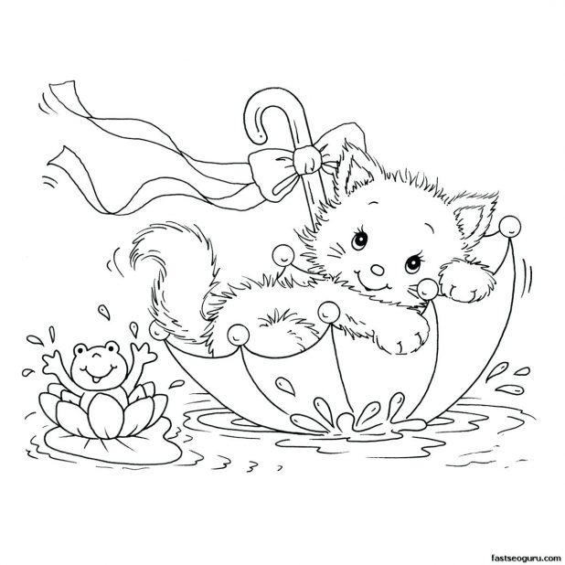 618x618 Free Printable Baby Kitten Coloring Pages For Drawing