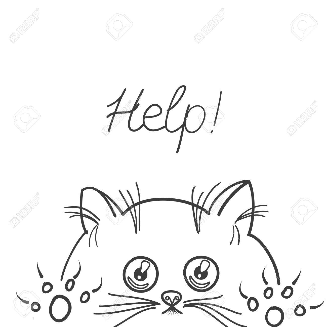 1300x1300 Sketch Of Kitten On White Background.cute Graphic For Kids.graphic