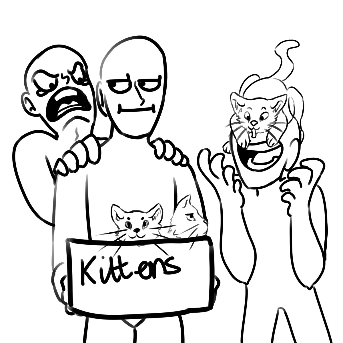 1200x1200 Me Shouting For The Kittens, Dirk With A Kitten On His Face,