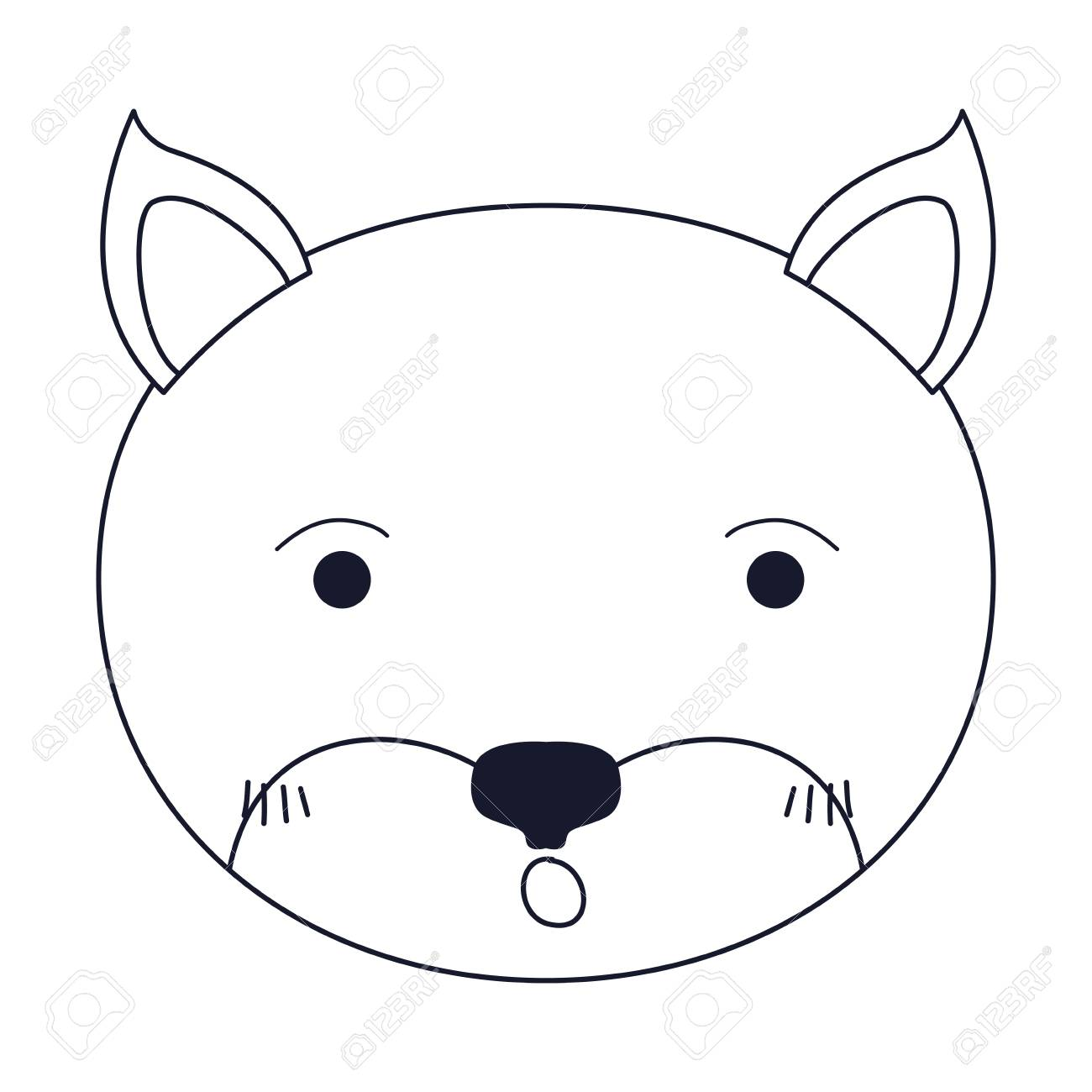 1300x1300 Sketch Silhouette Caricature Face Of Kitten Surprised Expression