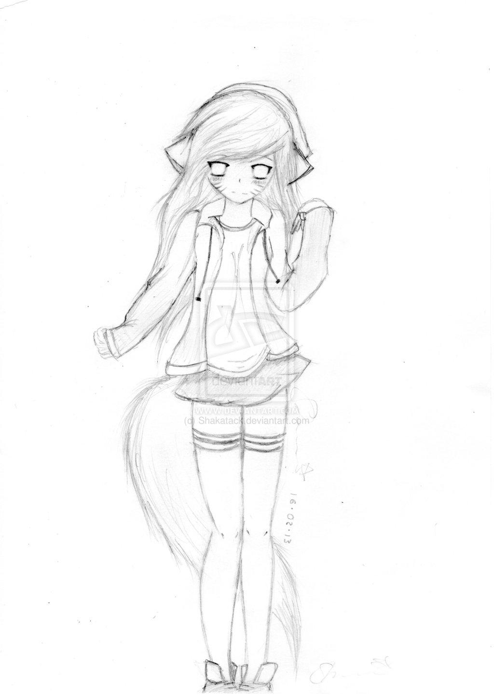 1024x1448 Anime Kitten Girl Drawing