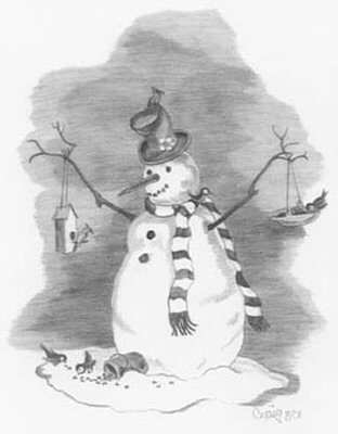 312x400 Bird Lover Snowman Pencil Sketch