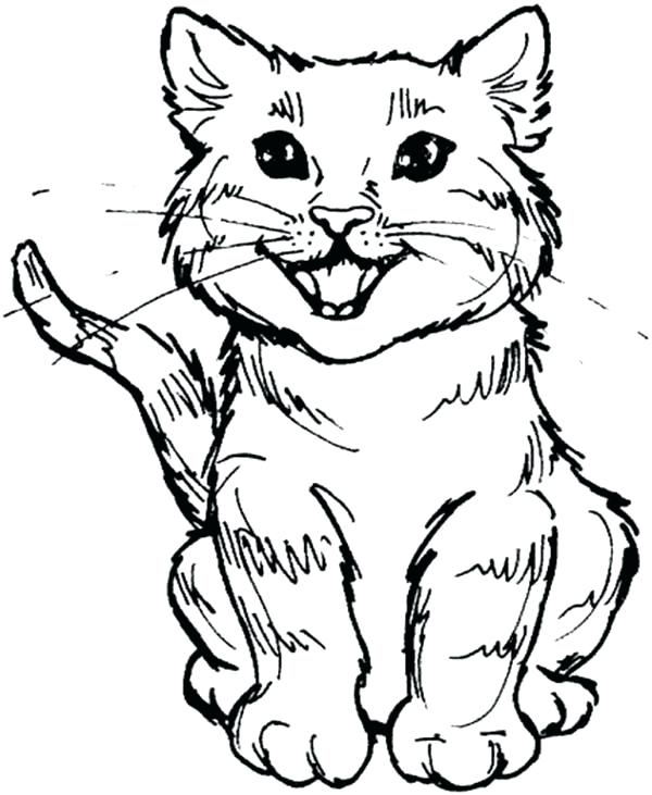 600x731 Cat Coloring Pages Cute Kitty Cat Roaring For Meal Coloring Page