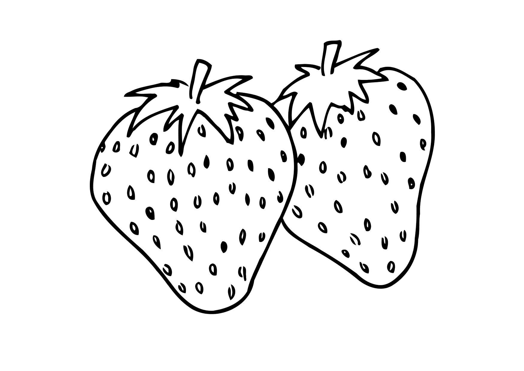 1750x1240 Strawberry Cartoon Smiling Coloring Page Fruits Pages General