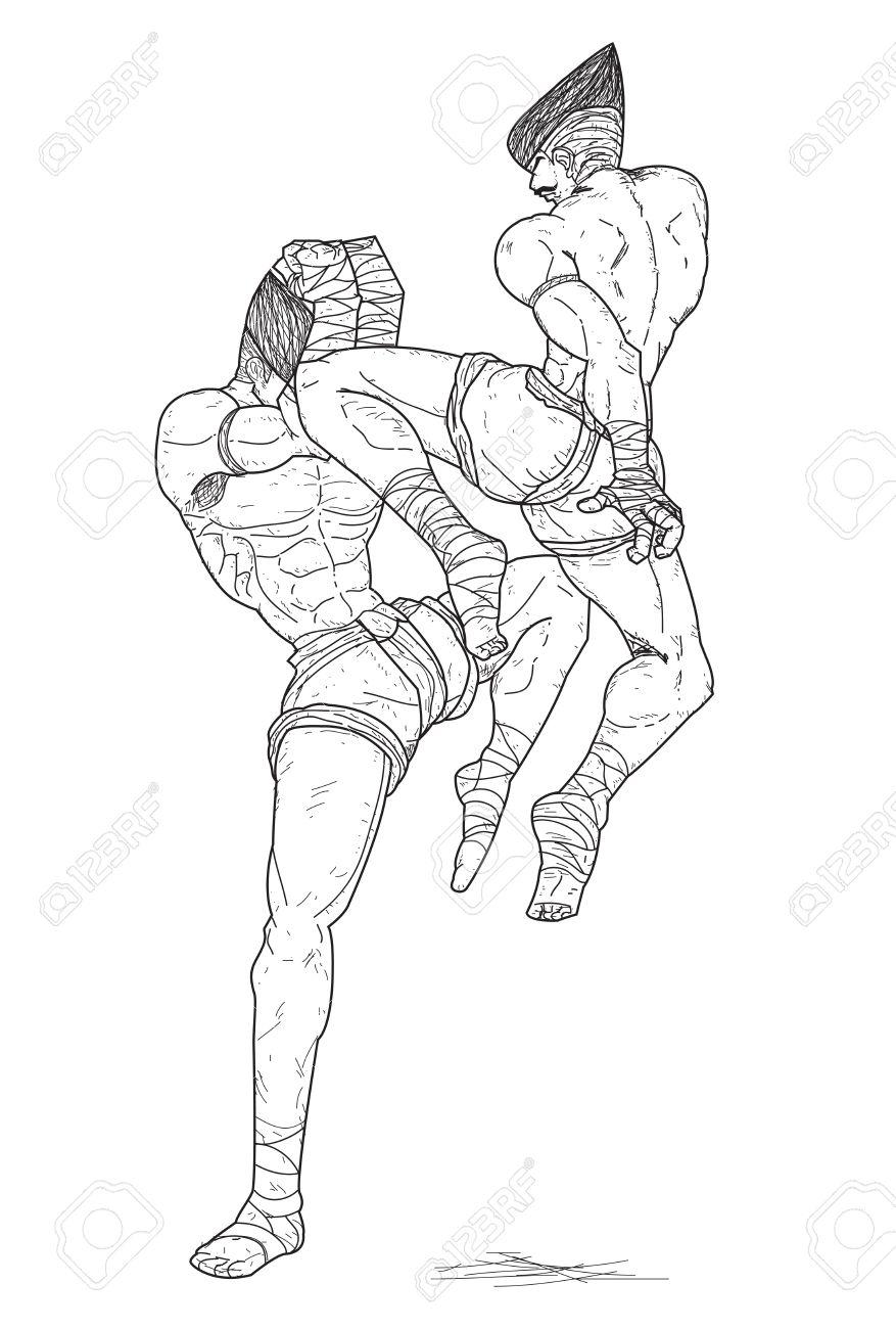877x1300 Muay Thai Flying Knee Strikes Royalty Free Cliparts, Vectors,