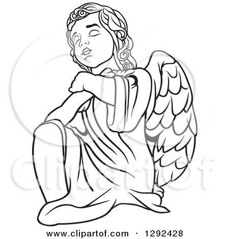 450x470 Clipart Of A Black And White Angel Kneeling And Praying
