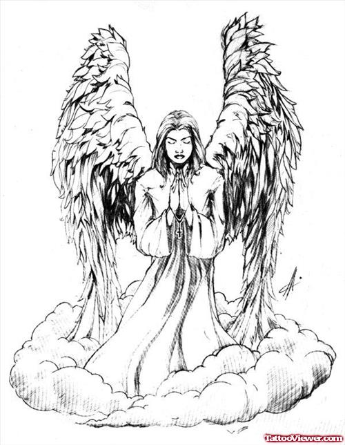 500x644 Praying Angel Tattoo Designs