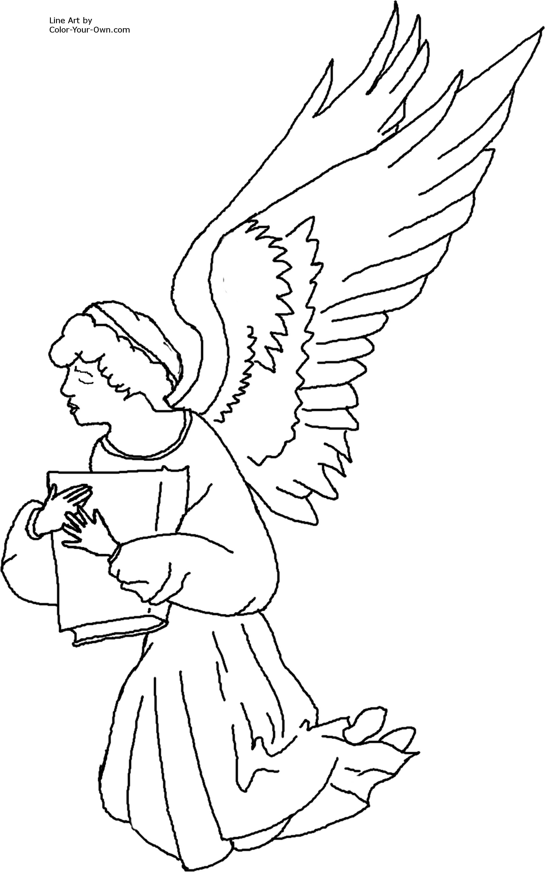 1876x3000 Kneeling Angel Coloring Page