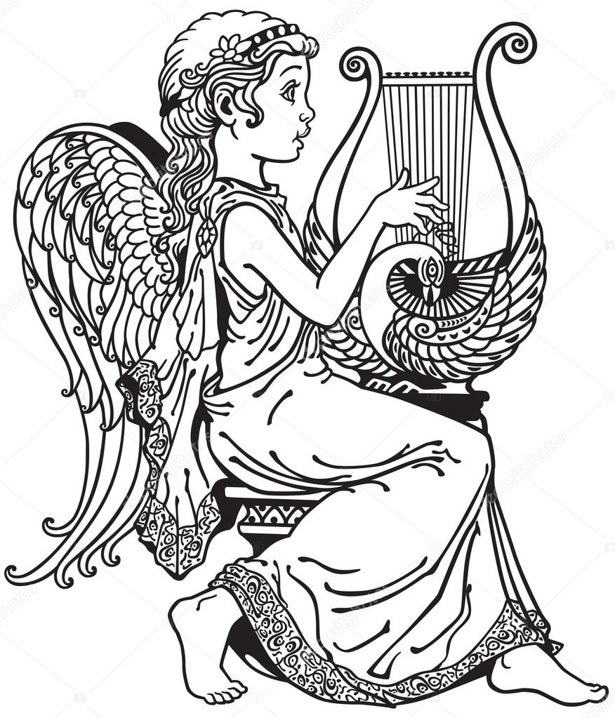 876x1023 Girl Angel Playing Lyre Black And White Stock Vector Insima