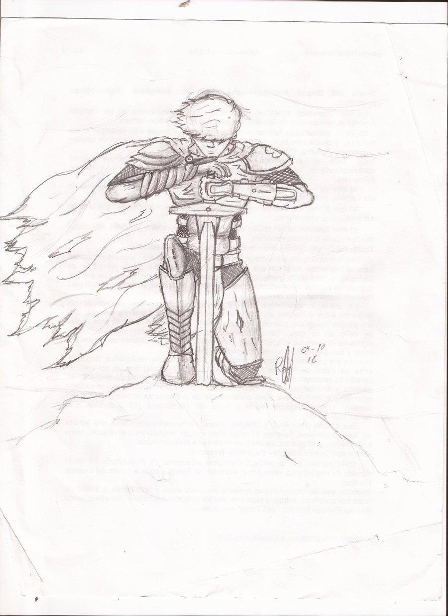 900x1238 Kneeling Knight By Fantasy Pencil13