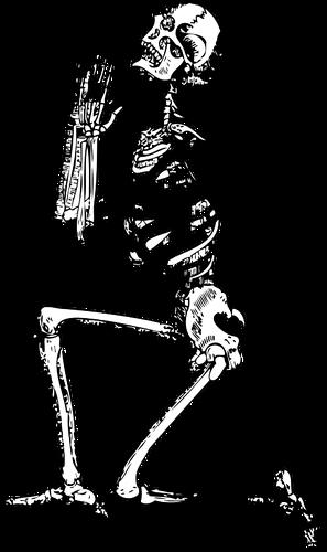 297x500 Vector Drawing Of Kneeling Skeleton Public Domain Vectors