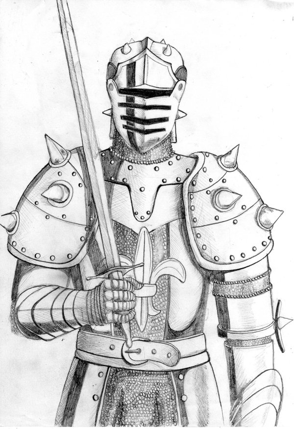 600x876 Medieval Knight Drawing Medieval Knight Pencil Drawing