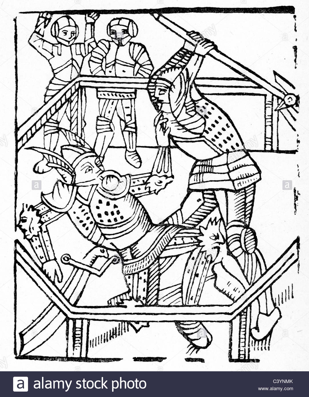 1081x1390 Medieval Woodcut From The Story Of The Knight Of The Swan. Combat
