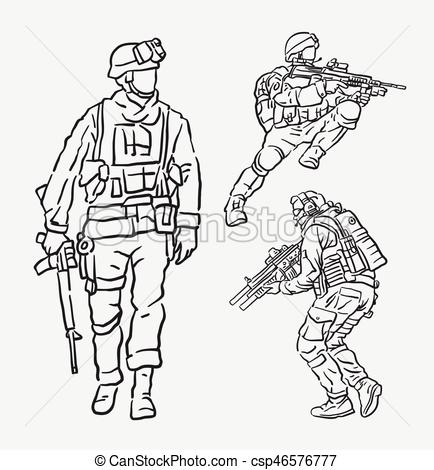 434x470 Soldier Army Action Hand Drawing. Good Use For Symbol, Web