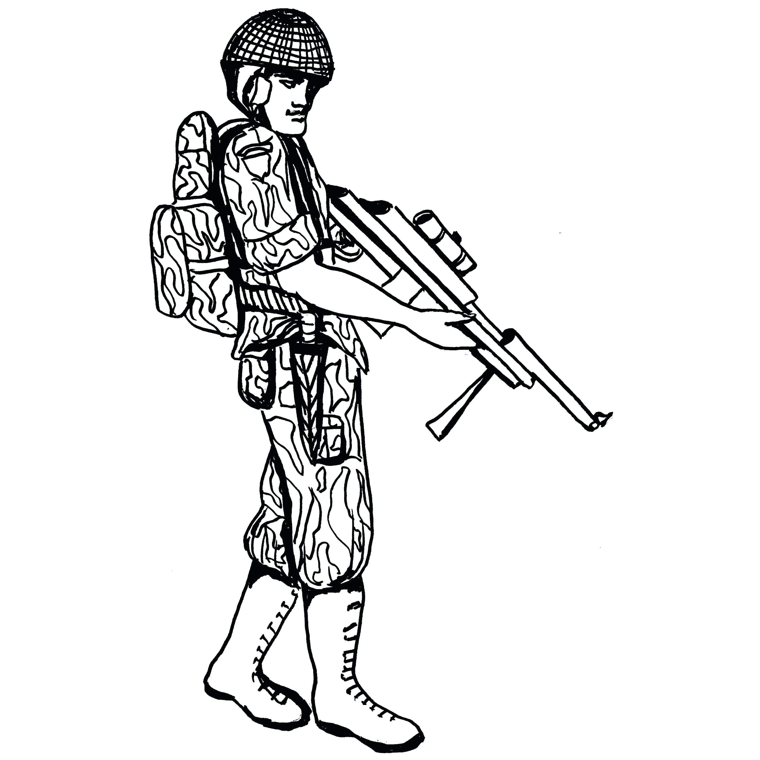 2560x2560 Coloring Soldier Coloring Pages Vector Of A Cartoon Kneeling Page