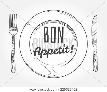 450x388 Dinner Plate Knife Fork. Doodle Vector Amp Photo Bigstock