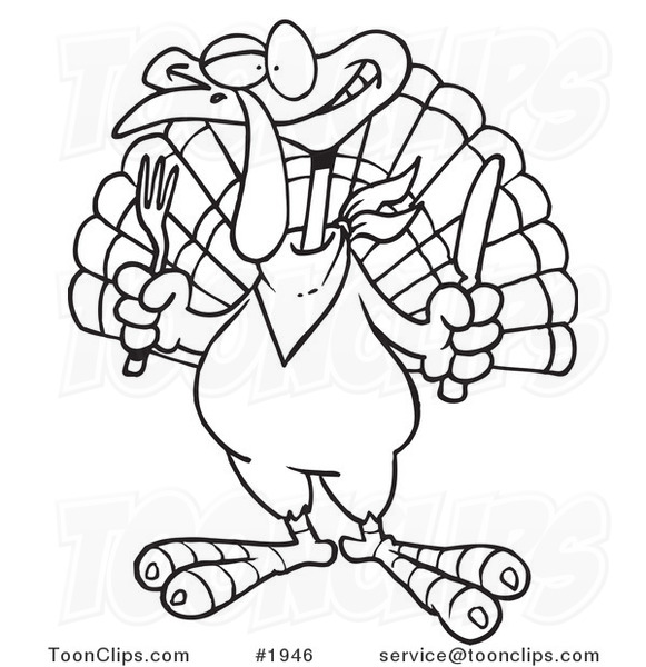 581x600 Cartoon Blacknd White Line Drawing Of Turkey Bird Holding