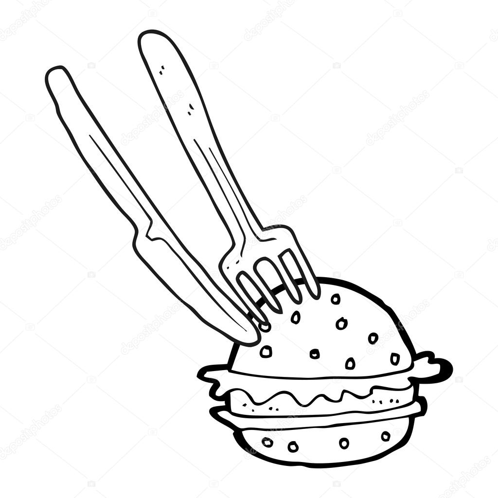 1024x1024 Black And White Cartoon Knife And Fork In Burger Stock Vector