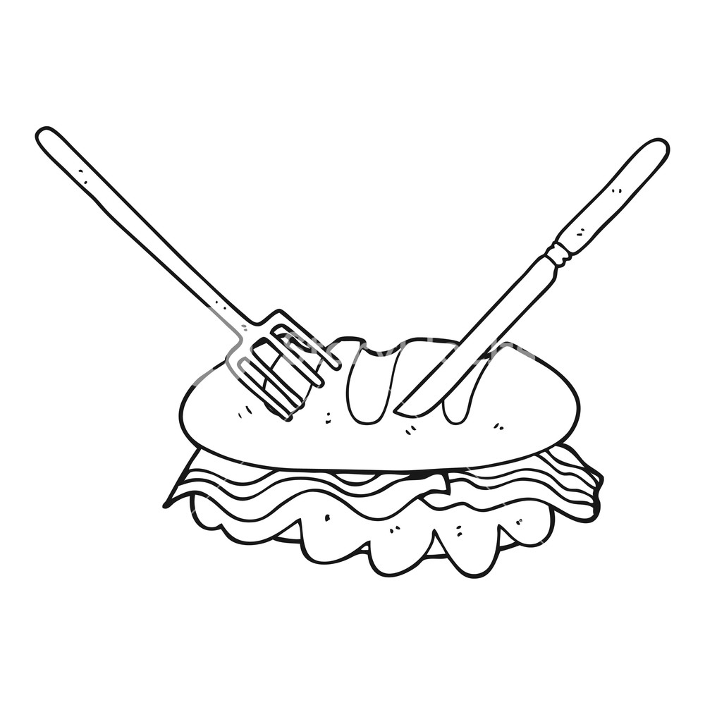 1000x1000 Freehand Drawn Black And White Cartoon Knife And Fork Cutting Huge
