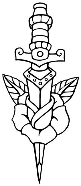 283x650 Rose Dagger Coloring Pages Tattoo, Tatting