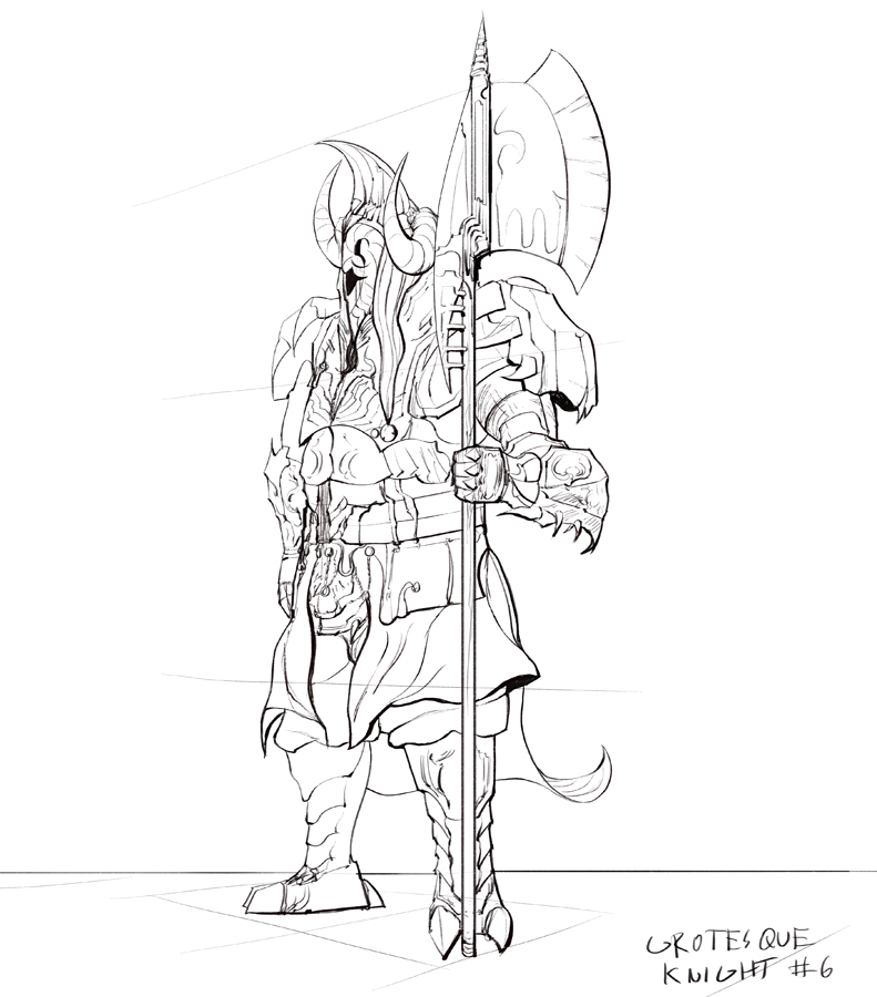 791x900 Grotesque Knight Type 6 Drawing By Brollonks