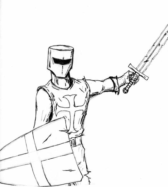 539x600 Templar Knight Sketch By Cloaked Figure