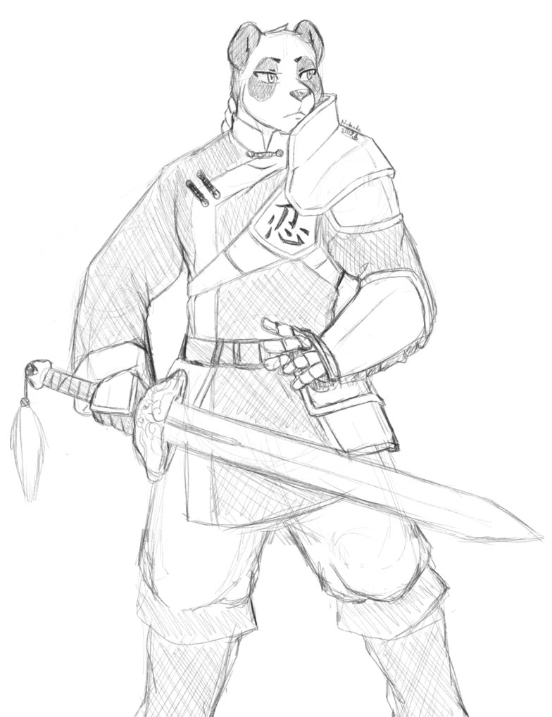 784x1019 Sketch Panda Knight By Nukude