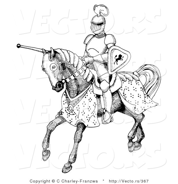 600x620 Vector Of A Historic Black And White Knight Jousting On Horse By C