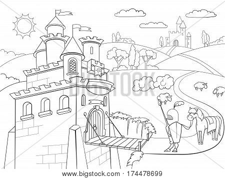 450x357 Kids Coloring Cartoon Knightly Vector Amp Photo Bigstock