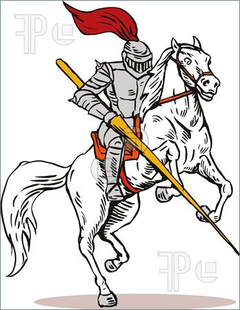 348x449 Knight On Horse With Sword Illustration Lancer