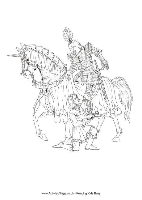 460x650 Knight And Squire Colouring Page