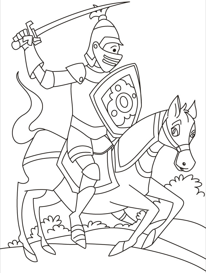 720x954 Knight With Horse Coloring Pages