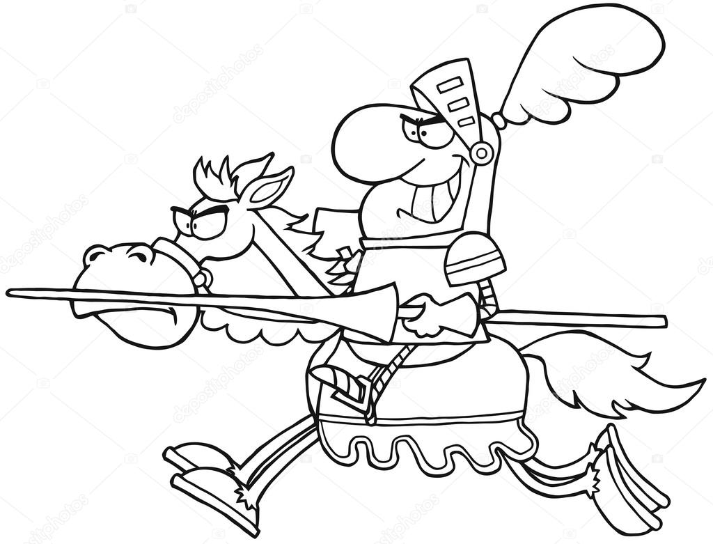 1024x781 Outlined Knight Riding Horse Stock Photo Hittoon