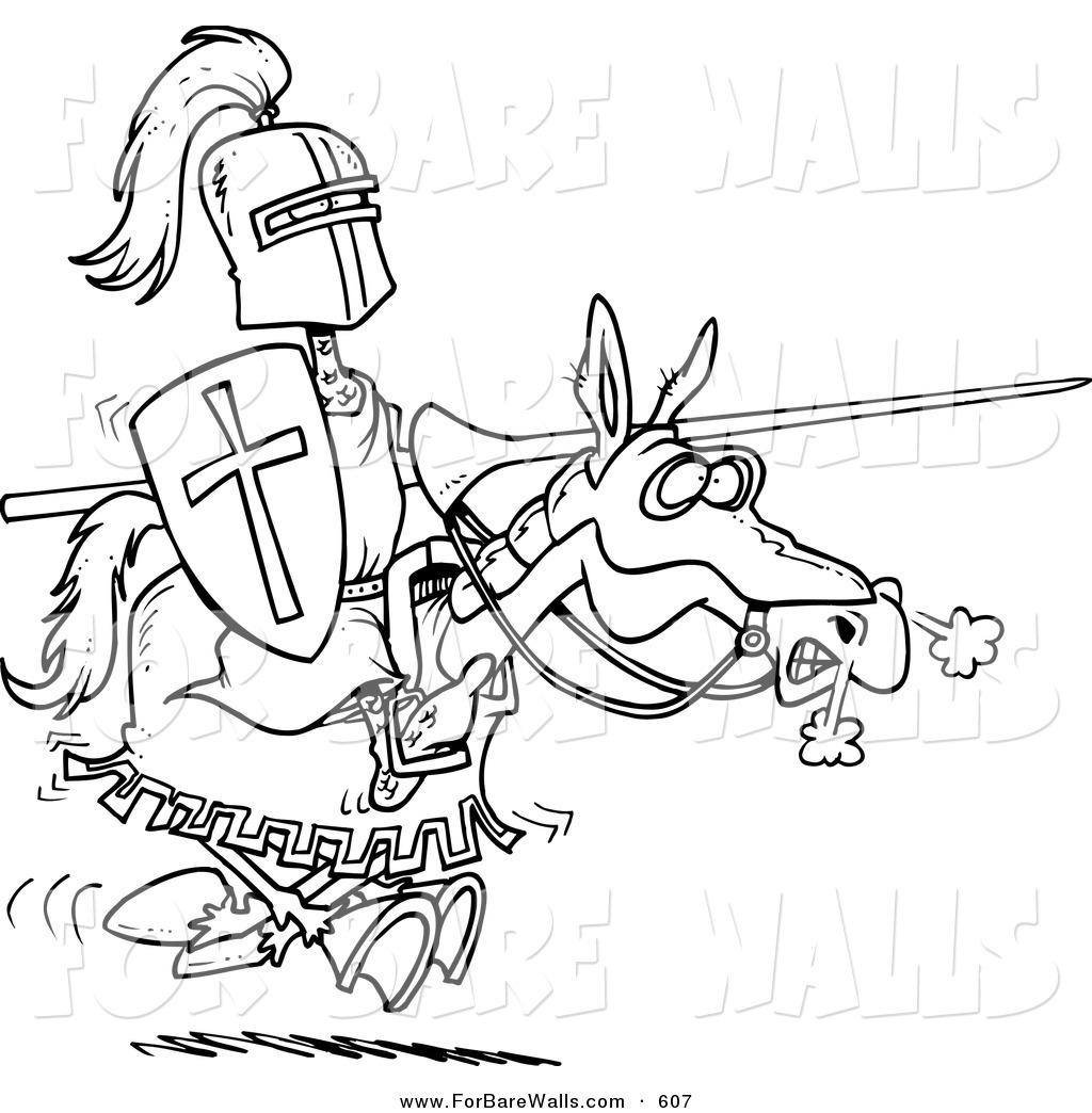 1024x1044 Printable Illustration Of A Coloring Page Of A Jousting Knight