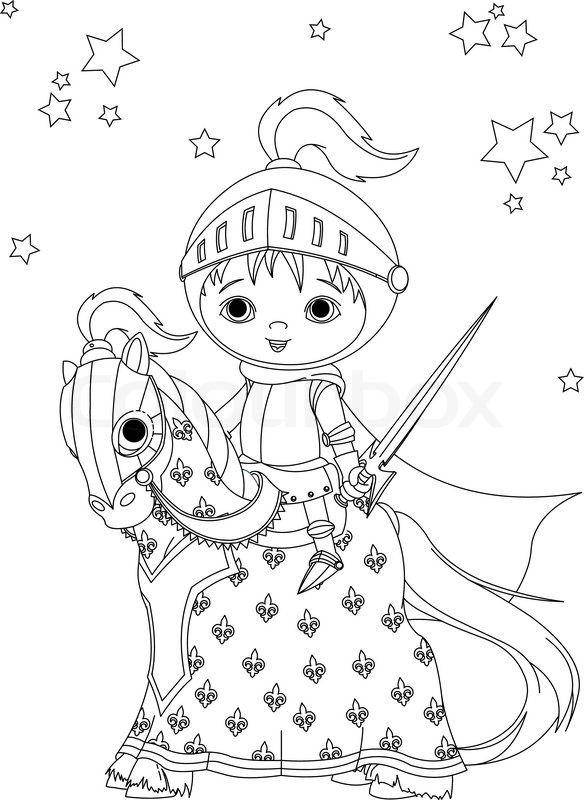 584x800 The Brave Knight On His Faithful Horse Coloring Page Stock