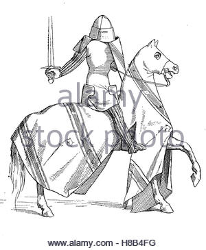 300x365 Knight On Horseback With Full Equipment, Early 14th Century,