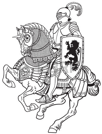 344x450 Medieval Knight Riding Armored Horse In Gallop. Black And White